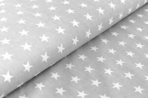 """Stars cotton fabric on gray background, 63 """"width per meter"""