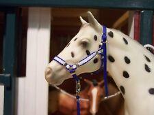 Jaapi ROYAL/WHITE STRIPED halter w/lead - fit Breyer/Stone model horses