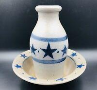 """Rowe Pottery Works Lot Cobalt Blue Stars Salt Glazed Vase 6"""" 1996 & Cereal Bowl"""
