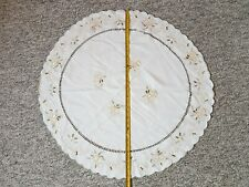 VINTAGE Round Christmas Embroidered TABLECLOTH  Germany Christmas Decor Bells