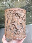 Chinese Qing Dynasty 19th Century Bamboo Brush Pot Bitong Decorated With Deities