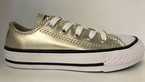 Converse Youth 10.5 CTAS OX Light Gold Girls Shimmer Chuck Taylor All Stars Low