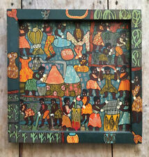 Lovely Rare Vintage Hand Painted Boho Folk Painting Zimbabwe Black Art African