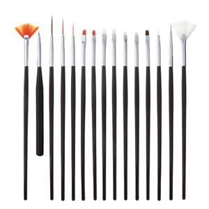 15Pcs Nail Art Brush + 8Pcs Nail Clippers Set Grooming Draw Manicure Creation
