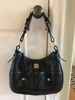 DOONEY & BOURKE Black Leather Pebbled Satchel Shoulder Purse Handbag
