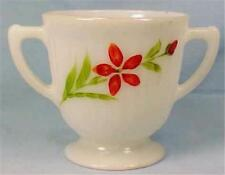 Florette Petalware Sugar Bowl Depression Glass Macbeth-Evans Red Flowers White