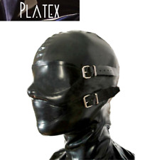 Platex Latex Rubber Bondage Cosplay Full Enclosure Hood - rear zip & gag