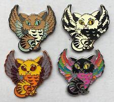 Set Of 4 Meowl Cat Owl Kitty Cat Label Pins Geo-Pin Geocoin