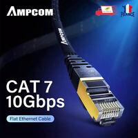 Câble Réseaux Cat 7 LAN Ethernet RJ45 Haute Vitesse Patch Cordon Plat Ampcom 2M