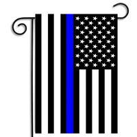 Police Sheriff Thin Blue Line Black & White American Flag Garden Flag