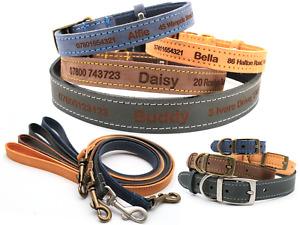 Personalised Custom Leather Dog Puppy Collar + Lead   Design Your Unique Pet ID