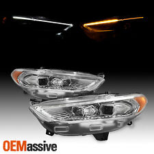 Fit 2013-2016 Ford Fusion Chrome LED DRL Switchback Signal Projector Headlights