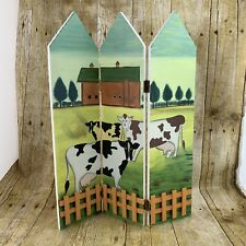 Mini Foldable 3 Panel Fence Screen Cows in Pasture Wooden Home Decor Decorations