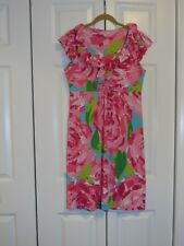 Lilly Pulitzer Clare Ruffle Silk Blend Dress Hotty Pink First Impression Sz M