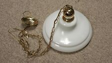 Polished Brass/White Glass Hanging Light Fixture w/Gold Chain Great Condition
