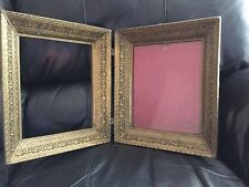 2 VINTAGE GOLD  BRASS FILIGREE PICTURE FRAMES ORNATE LACY METAL SHABBY DECOR
