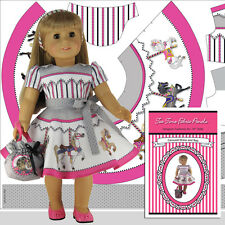 18 inch Doll Clothes Kit Carousel Dress and Bag by Tea Time Fabric Panels