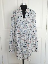 NEW White Floral Butterfly Print Button Down Shirt UK20 Summer Boho Festival