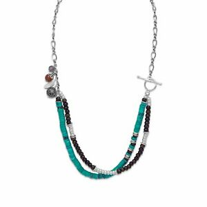 """925 Sterling Silver Multi-stones Terra Bella Double Strands Beaded Necklace 21"""""""