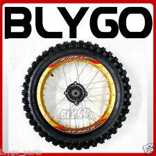 "GOLD 90/100- 14"" Inch Rear Back Wheel Rim + Knobby Tyre Tire PIT PRO Dirt Bike"