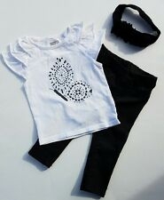 Crazy 8  Black White Breezy Shirt Butterfly Pants Jeggings Set Sz 12-18  Month