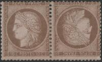 "France Stamp N° 58 C "" Ceres 10c Brown On Pink Pair Head Spade "" New X Very Good"