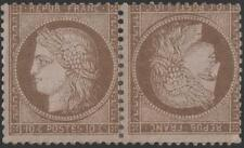 "FRANCE STAMP TIMBRE N° 58 c "" CERES  10c BRUN SUR ROSE PAIRE TETE BECHE""NEUFx TB"