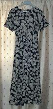 LAUREN DUVAR ~Short Sleeve Blue Floral Viscose Button Up Dress ~ Size 14