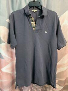 Burberry London Polo Short Sleeve Shirt Black Men's Size Small Charcoal Gray