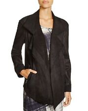 Pure DKNY Black Lamb Leather Long Sleeves luxe Jacket Outerwear $995. PSmall NWT