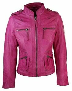 Vintage Pink Retro Casual Womens Motorcycle Leather Jacket