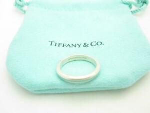 Tiffany & Co. Sterling Silver Blue Enamel Stripe Band Stacking Ring Size 5 - A