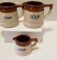 VINTAGE Brown Stoneware Measuring Cup Pitchers Set of 3