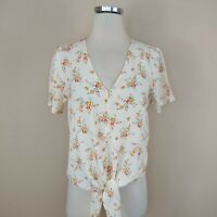 Madewell Floral Tie Front Top Blouse V-Neck Short Sleeve XXS 2XS