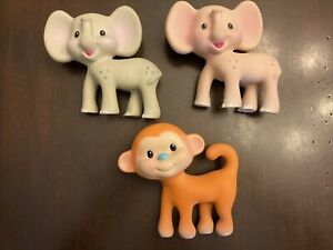 RUBBER SQUEAKY TOY Lot 3 INFANTINO COCO MONKEY KIKI & Pink ELEPHANT Teethers