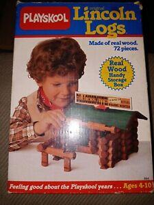 Vintage 1989 Playskool Original Lincoln Logs Blacksmith Cabin Real Wood