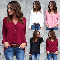Mode Femmes V-Neck T-shirt à manches longues Lâche Blouse Chemise Dames Tops