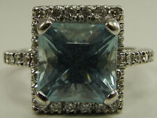 Vintage 18K Solid White Gold Sky Blue Topaz Diamond Ring Step Cut Sz 6 I-I2 9mm