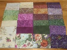 Arabella Rose Shabby Floral Quilt Fabric Fat Quarters Kit Purple Burgundy Green