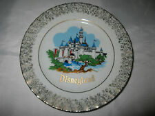 Vintage Disneyland Theme Park Gold Rimmed Plate Featuring Sleeping Beauty Castle