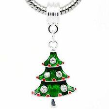 Rhinestone Enamel Christmas Tree Charm Bead For Silver Charm Bracelets m1623