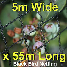 Commercial Knitted Anti Bird Netting 5 Metre Wide x  55 Metres Long - Black