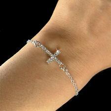 Danity w Swarovski Crystal Sideways Cross Celebrity Religious Chain Bracelet New