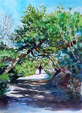 """Impresionante doranne Alden originales """"de un paseo en comino"""" Malta Acuarela Pintura"""