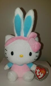 Ty Beanie Baby - HELLO KITTY Easter Bunny with Blue Ears (8 Inch) MWMT