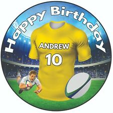 """Personalised Birthday Cake Topper 8"""" Icing Rugby Shirt Clermont Colours"""