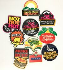 1980's Wendy's Fast Food Restaurant Cheeseburger Advertisement Lapel Hat Pin Lot