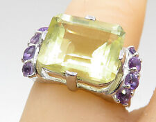 925 Silver - Peridot Amethyst Accented Open Band Cocktail Ring Sz 5.5 - R7804