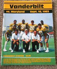 Vanderbilt vs Maryland Football Gameday Program 1983