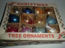 VTG Box of 12 Christmas Ornaments Bulbs Assorted Some Glitter